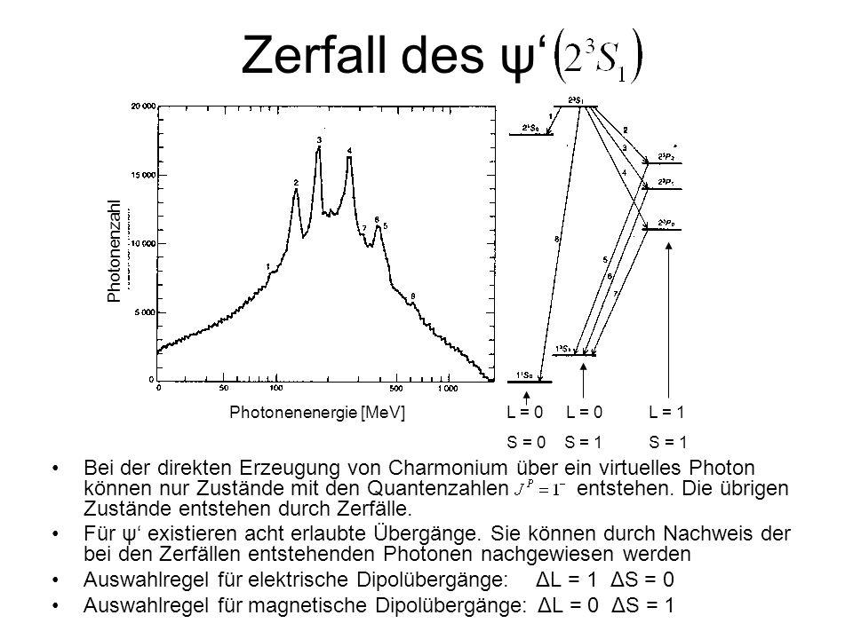 Zerfall des ψ' Photonenzahl. Photonenenergie [MeV] L = 0 L = 0 L = 1. S = 0 S = 1 S = 1.